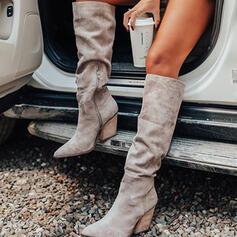 Vrouwen Suede Chunky Heel Martin Boots Puntige teen met Ruched Rits schoenen