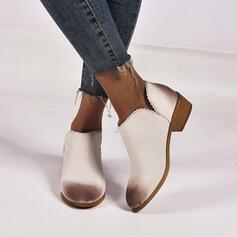 Vrouwen PU Chunky Heel Enkel Laarzen Ronde neus met Las kleur schoenen