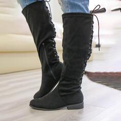 Vrouwen Suede Low Heel Knie Lengte Laarzen Martin Boots Ronde neus met Rits Vastrijgen schoenen