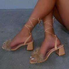 Vrouwen PU Chunky Heel Sandalen Peep Toe Hakken met Vastrijgen Hol-out Verband schoenen