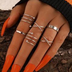 Eenvoudig Legering Vrouwen Ringen 6 STUKS