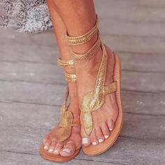 Vrouwen PU Flat Heel Sandalen Peep Toe Flip Flops met Effen kleur schoenen