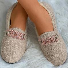 Vrouwen Suede Flat Heel Flats Lage top Aantrekken met Strass Nep bont schoenen