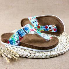 Vrouwen Kunstleer Flat Heel Sandalen Peep Toe Slippers met Hol-out Las kleur schoenen