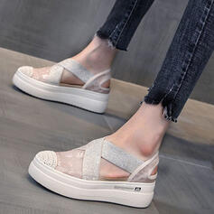 Vrouwen Doek Wedge Heel Sandalen Plateau Wedges Peep Toe Hakken met Hol-out Verband schoenen