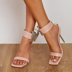 Vrouwen PU Stiletto Heel Sandalen Pumps Peep Toe met Strass Hol-out schoenen