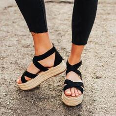 Vrouwen Echt leer Wedge Heel Sandalen Wedges Peep Toe met Rits Hol-out schoenen