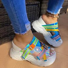 Vrouwen PU Flat Heel Sandalen Flats Wedges Peep Toe Slippers Hakken met Gesp Las kleur schoenen