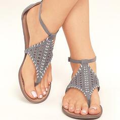 Vrouwen PU Flat Heel Sandalen Flats Peep Toe Flip Flops met Gesp schoenen