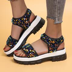 Vrouwen PU Flat Heel Sandalen Pumps Peep Toe Slippers Hakken met Lovertje Sprankelende Glitter Velcro schoenen