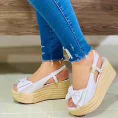 Vrouwen PU Wedge Heel Pumps Plateau Wedges Peep Toe Ronde neus met strik Gesp schoenen