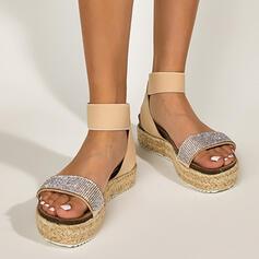 Vrouwen PU Flat Heel Sandalen Flats Plateau Peep Toe met Strass Hol-out schoenen