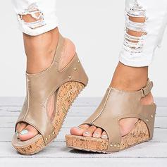 Vrouwen Kunstleer Wedge Heel Sandalen Wedges Peep Toe Hakken met Klinknagel schoenen