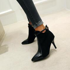 Vrouwen PU Stiletto Heel Enkel Laarzen Puntige teen met Gesp schoenen