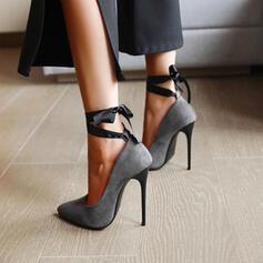 Vrouwen Suede Stiletto Heel Sandalen Pumps Closed Toe Puntige teen met Vastrijgen Hol-out schoenen