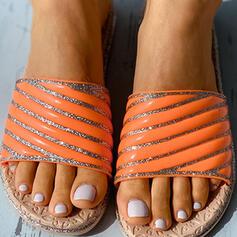 Vrouwen PU Flat Heel Sandalen Flats Peep Toe Slippers met Hol-out Gestreept schoenen