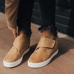 Mannen Kunstleer Wedge Heel Enkel Laarzen Ronde neus Winterlaarzen Rijlaarzen met Velcro Houndstooth schoenen