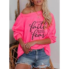 Print Figuur One Shoulder Lange Mouwen Casual T-shirts