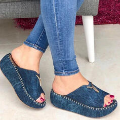 Vrouwen Jean Wedge Heel Sandalen Plateau Wedges Peep Toe Slippers Hakken met Rits Effen kleur schoenen