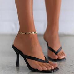 Vrouwen PU Stiletto Heel Sandalen Pumps Peep Toe Flip Flops Slippers Teen Ring Hakken met Hol-out Effen kleur schoenen