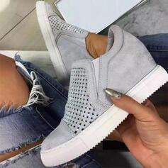 Vrouwen Suede Flat Heel Flats Ronde neus met Hol-out Effen kleur schoenen