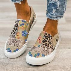 Vrouwen Jean Flat Heel Flats Lage top Ronde neus Espadrille met Dier Afdrukken Lapwerk Las kleur schoenen