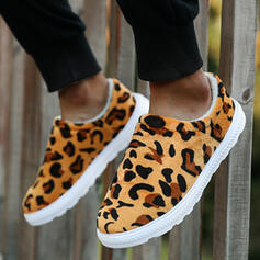 Vrouwen Suede Flat Heel Flats Ronde neus met Dier Afdrukken Las kleur schoenen
