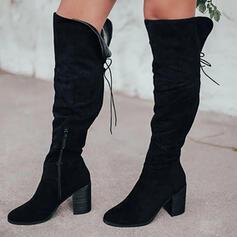 Vrouwen Suede Chunky Heel Over De Knie Laarzen Rijlaarzen Ronde neus met Rits Vastrijgen Effen kleur schoenen