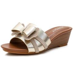 Vrouwen PU Wedge Heel Sandalen Wedges Peep Toe Slippers Hakken met strik Hol-out schoenen