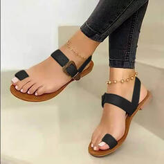 Vrouwen PU Flat Heel Sandalen Flats Slippers Teen Ring met Gesp Hol-out schoenen