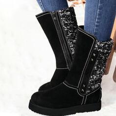 Vrouwen PU Flat Heel Half-Kuit Laarzen Ronde neus Winterlaarzen met Sprankelende Glitter Rits schoenen