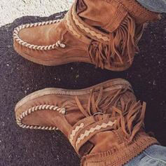 Vrouwen PU Flat Heel Enkel Laarzen Ronde neus met Gesp Tassel Effen kleur schoenen
