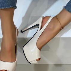 Vrouwen PU Stiletto Heel Pumps Plateau Peep Toe Hakken met Hol-out Effen kleur schoenen