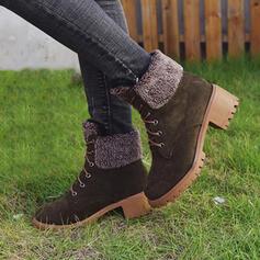 Vrouwen Kunstleer Chunky Heel Martin Boots Ronde neus met Vastrijgen Las kleur schoenen