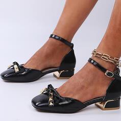 Vrouwen PU Chunky Heel Sandalen Pumps Closed Toe Vierkante teen Hakken met Kralen Klinknagel Gesp schoenen