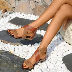 Vrouwen Kunstleer Flat Heel Sandalen Flats Peep Toe met Gesplitste Stof schoenen