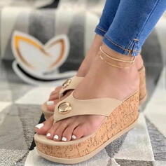 Vrouwen PU Wedge Heel Sandalen Plateau Wedges Peep Toe Flip Flops Slippers Hakken met Kralen Hol-out schoenen