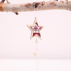 Kerstmis vrolijk kerstfeest opknoping Ster Houten Boom hangende ornamenten Kerst Ornements