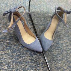 Vrouwen Fluwelen Stiletto Heel Sandalen Pumps Closed Toe Puntige teen met strik Gesp Effen kleur schoenen