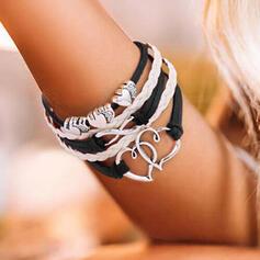 Hart Gelaagd Valentijnsdag Legering Gevlochten Touw Vrouwen Armbanden