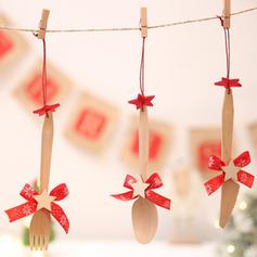 Kerstmis vrolijk kerstfeest opknoping Houten Boom hangende ornamenten Kerst Ornements