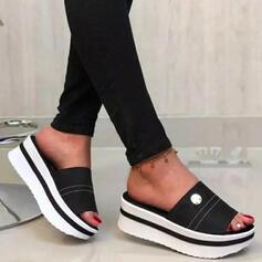 Vrouwen PU Wedge Heel Sandalen Plateau Wedges Peep Toe Slippers Hakken met Hol-out Bloem schoenen