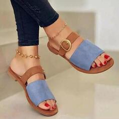 Vrouwen Suede Flat Heel Sandalen Flats Peep Toe Slippers met Gesp Hol-out schoenen