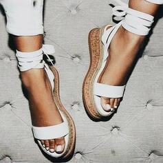 Vrouwen Kunstleer Wedge Heel Flat Heel Sandalen Flats Plateau Wedges Peep Toe Hakken met Vastrijgen Effen kleur schoenen