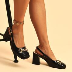 Vrouwen PU Chunky Heel Sandalen Pumps Vierkante teen met Gesp Keten Effen kleur schoenen