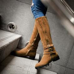 Vrouwen PU Low Heel Half-Kuit Laarzen Ronde neus met Ruched Effen kleur schoenen