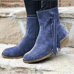 Vrouwen Suede Low Heel Half-Kuit Laarzen Ronde neus met Tassel Effen kleur schoenen