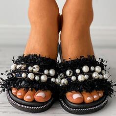 Vrouwen PVC Flat Heel Sandalen Flats Peep Toe Slippers met Imitatie Parel Hol-out Tassel schoenen