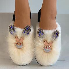 Vrouwen Suede Flat Heel Flats Lage top Aantrekken met Dier Afdrukken Nep bont schoenen