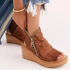 Vrouwen PU Wedge Heel Sandalen Wedges Peep Toe Hakken met Rits Effen kleur schoenen
